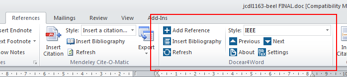"Docear4Word in the ""References"" ribbon of Microsoft Word 2010"
