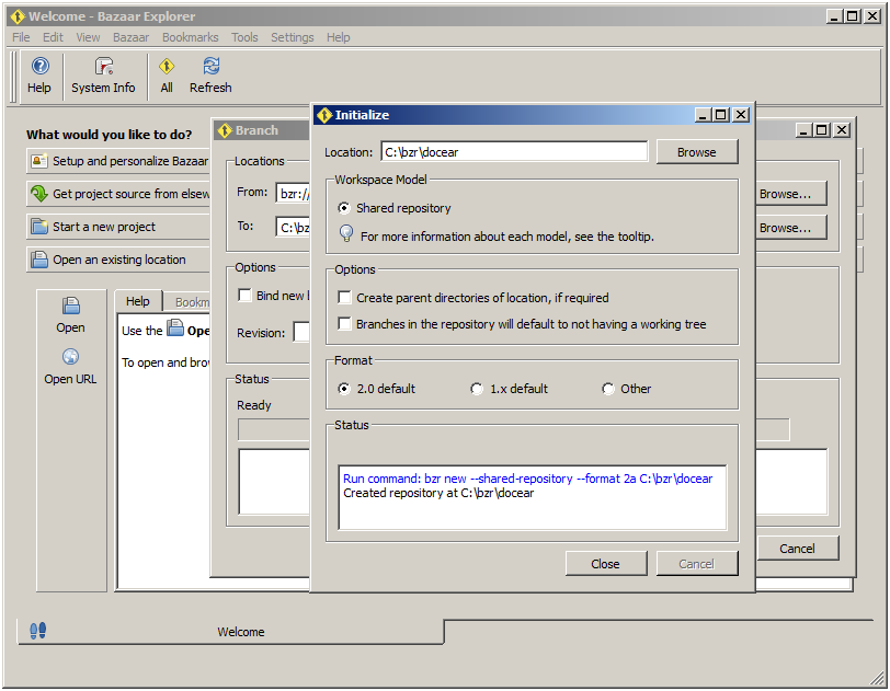 Close Dialog after Repository Creation