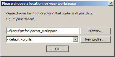 Choose Workspace Location