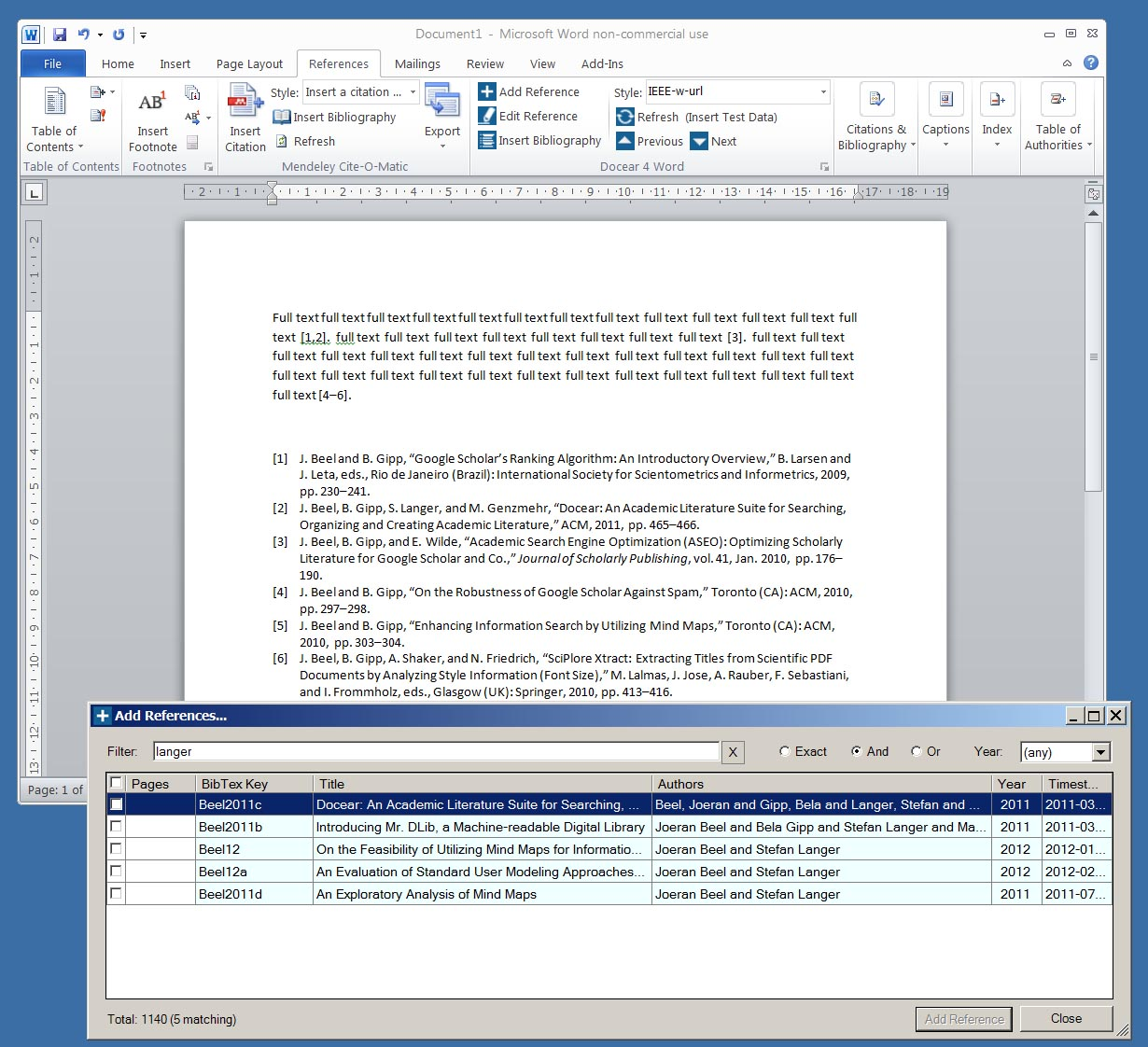 Docear4Word is on its way (CSL based Microsoft Word Add-On for ...