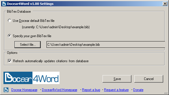 Docear4Word settings dialog for changing the BibTeX file