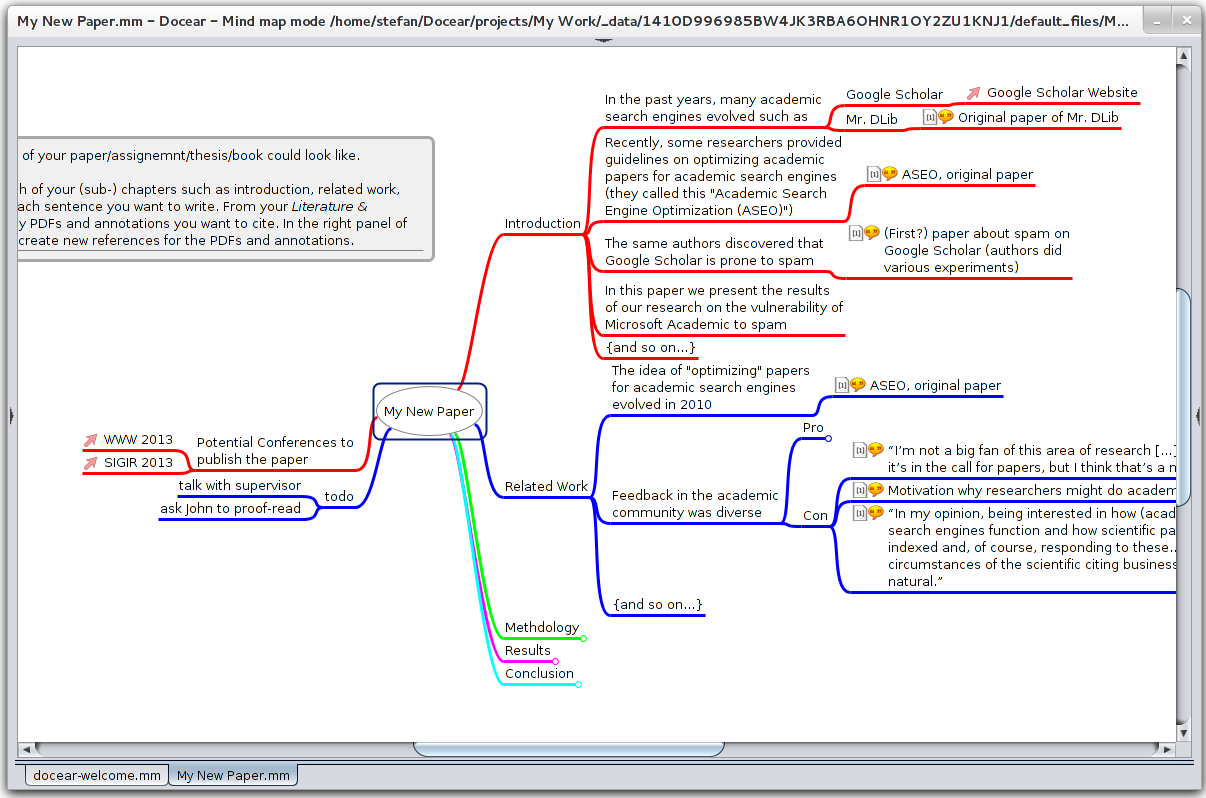 Docear with maximized mind map view