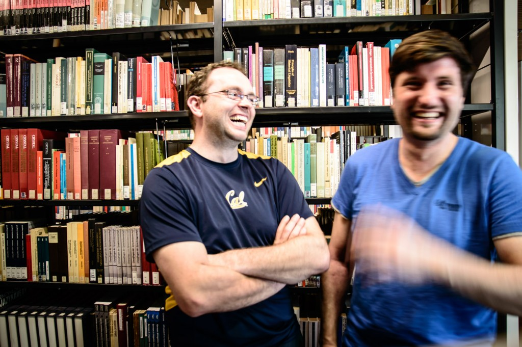 Stefan and Marcel during a photoshooting in our university's library